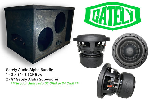 "Gately Audio Subwoofer Bundle - 2 x 8"" Alpha Subwoofers in a 1.5 CF Box"