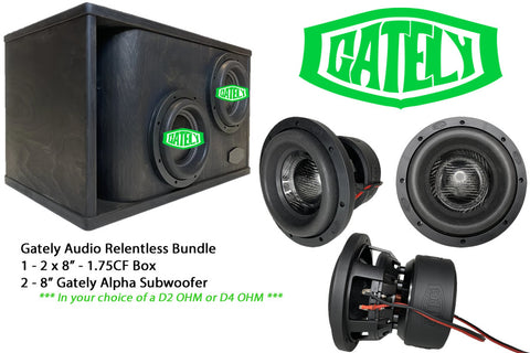 "Gately Audio Subwoofer Bundle - 2 x 8"" Relentless Subwoofers in a 1.75 CF Box"