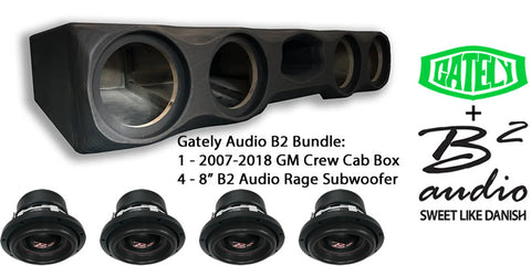 "B2 Audio Bundle - 4 x 8"" Rage - GM CrewCab 2007-2018 with Seat Lift Kit"