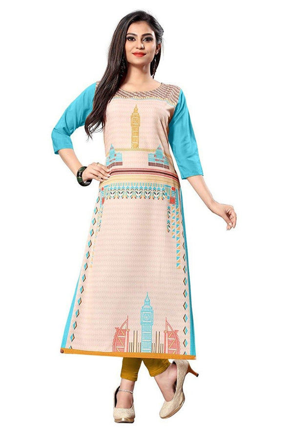 Women's Digital Printed American Crepe Straight Kurti - CRP24