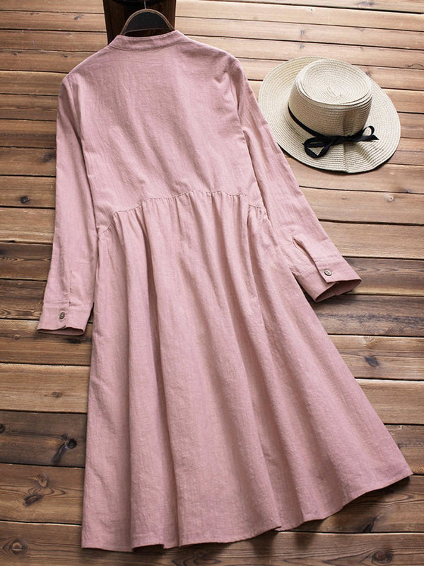 VINTAGE WOMEN COTTON STAND COLLAR PLEATED LONG SLEEVE SHIRT DRESS - Z005