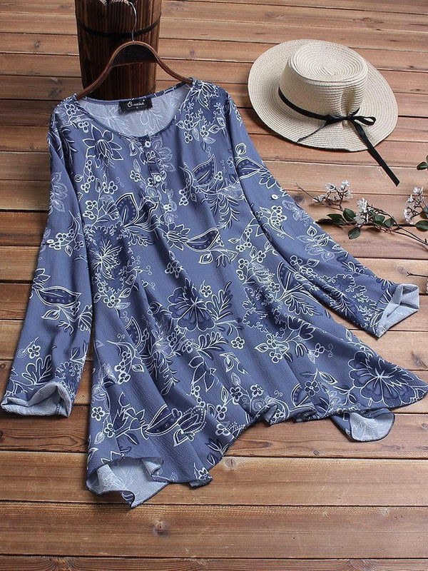 Women Floral Print Cotton Flex Loose Irregular Hem Western Top - AF013