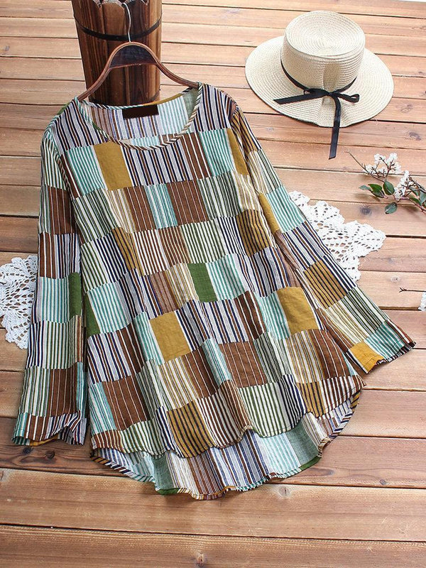 Women Casual Plaid Irregular Hem Long Sleeve Cotton Flex Western Top - AF014