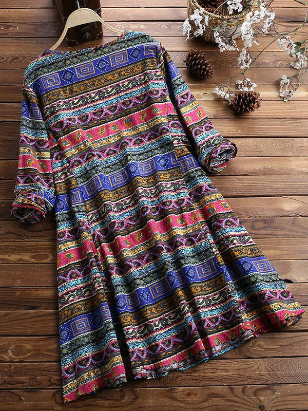 Women Vintage Ethnic Print Long Sleeve Cotton Flex Western Top - AF015