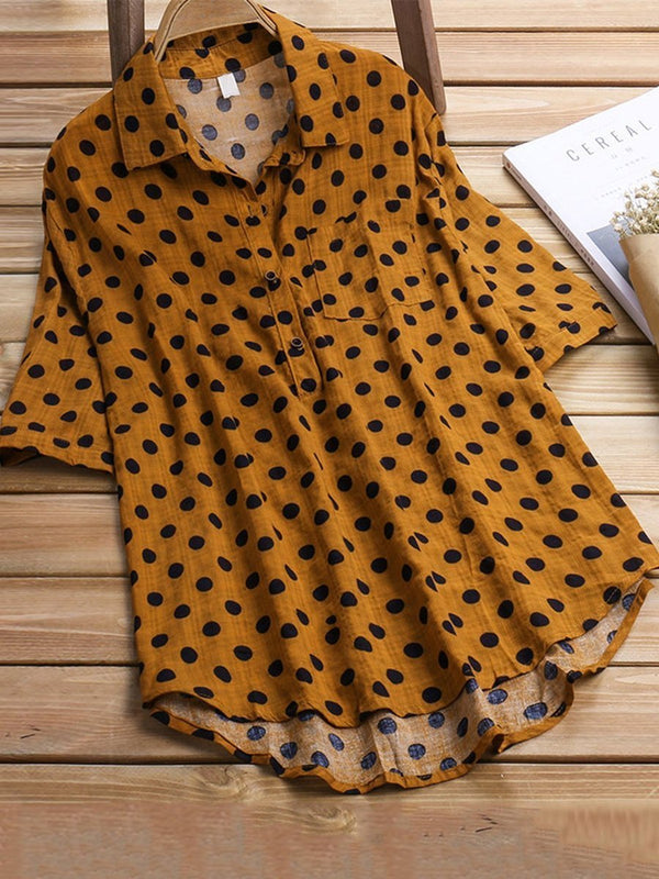 Women Polka Dot Printed 3/4 Sleeve Shirt - AF017