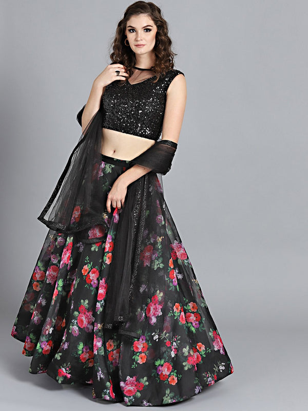 Deserving Floral Black Colored Designer Party wear Digital Printed Satin Lehenga Choli - DG012