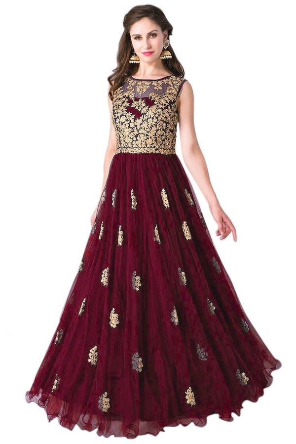 Unique Maroon Colored Embroidered Designer Gown - GW002 - Women Clothing - Womanik