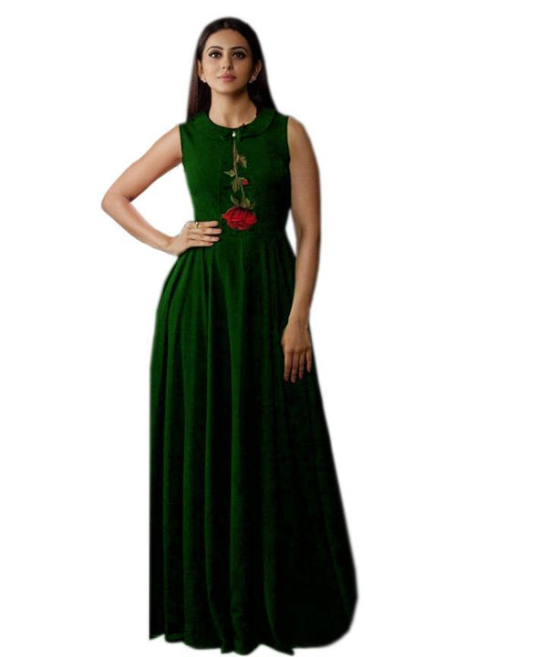 Gleaming Green Colored Embroidered Rayon Designer Gown - Gulabo_Green - Women Clothing - Womanik