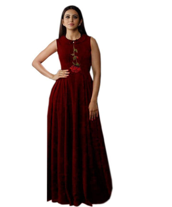 Elegant Maroon Colored Embroidered Rayon Designer Gown - Gulabo_Maroon - Women Clothing - Womanik