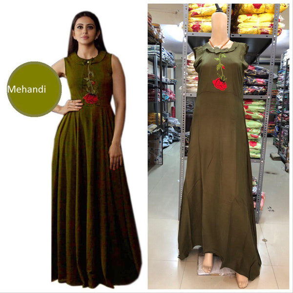 Energetic Olive Green Colored Embroidered Rayon Designer Gown - Gulabo_Olive Green - Women Clothing - Womanik