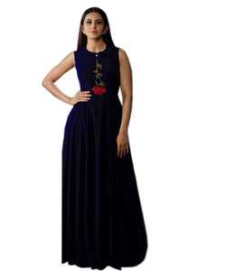 Trendy Navy Blue Colored Embroidered Rayon Designer Gown - Gulabo_Navy Blue - Women Clothing - Womanik