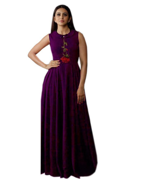 Blissful Purple Colored Embroidered Rayon Designer Gown - Gulabo_Purple - Women Clothing - Womanik