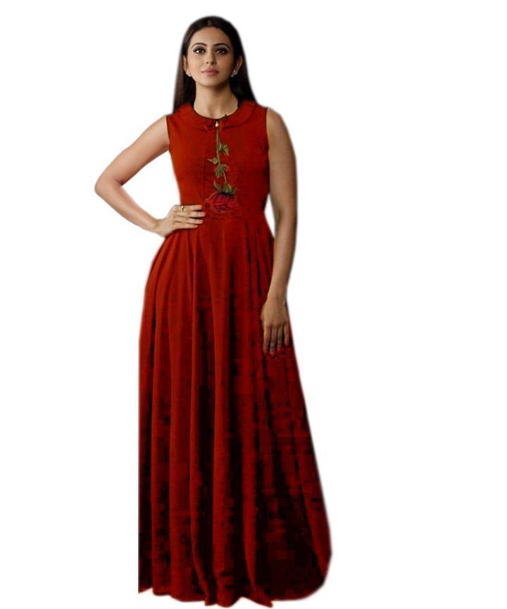 Flaunt Red Colored Embroidered Rayon Designer Gown - Gulabo_Red - Women Clothing - Womanik