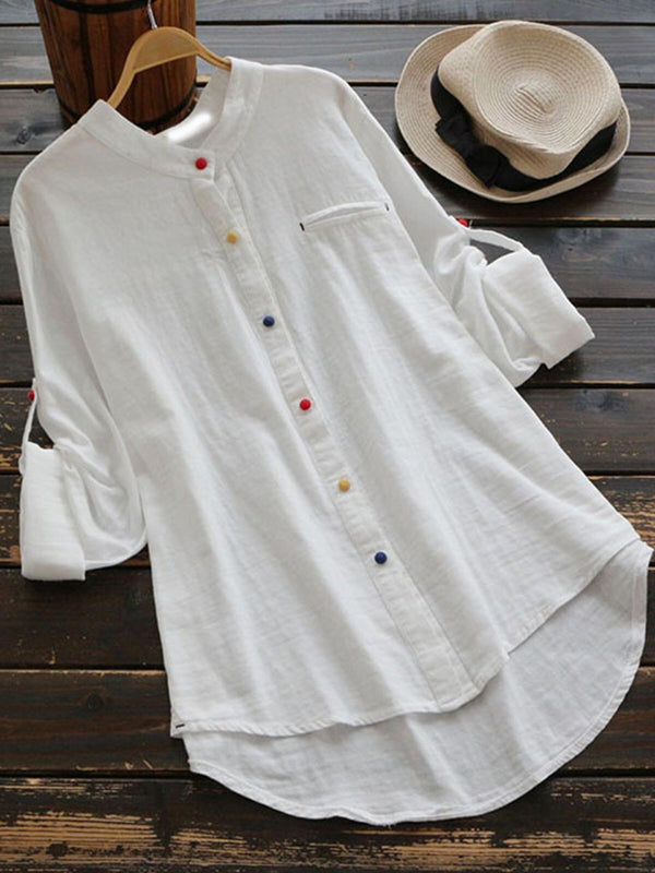 Pretty White Colored Plan Rubi Silk Cotton Shirt - Z002_White - Women Clothing - Womanik