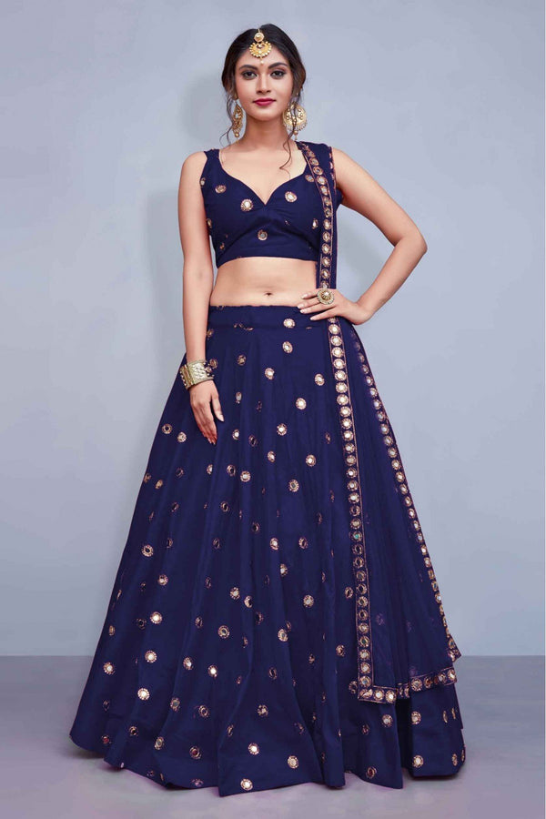 Alluring Navy Blue Colored Party Wear Banglori Silk Lehenga Choli - Mirror_Navy Blue - Women Clothing - Womanik