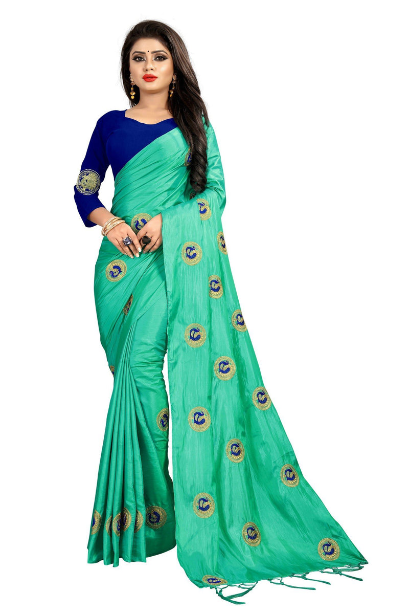 Starring Turquoise Colored Party Wear Embroidered Sana Silk Saree - Mor_Turquoise - Women Clothing - Womanik