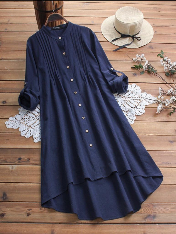 VINTAGE WOMEN COTTON STAND COLLAR PLEATED LONG SLEEVE SHIRT DRESS - Z009