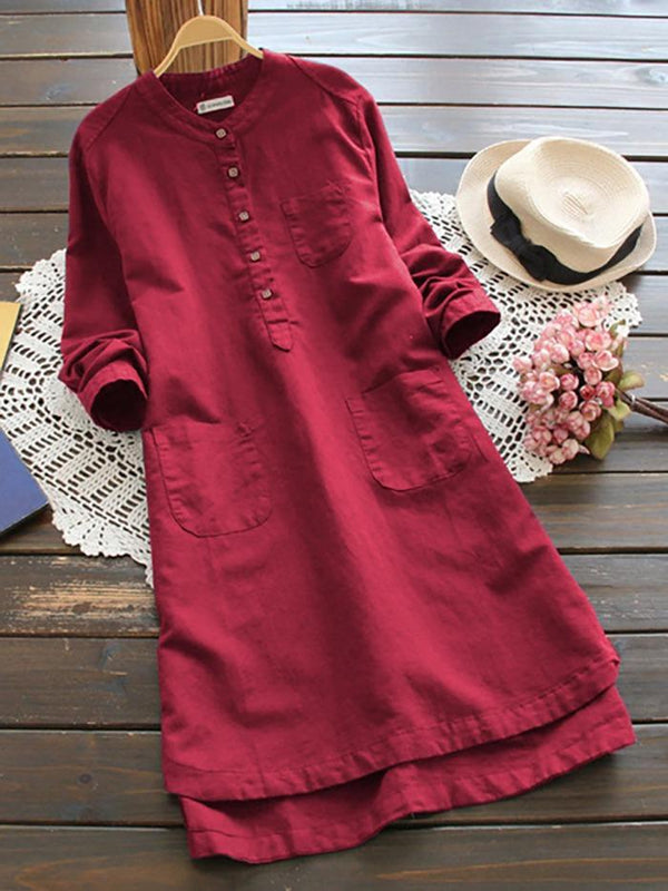 Blossom Red Colored Ruby Silk Full Sleeves shirt - Z001_Red - Women Clothing - Womanik