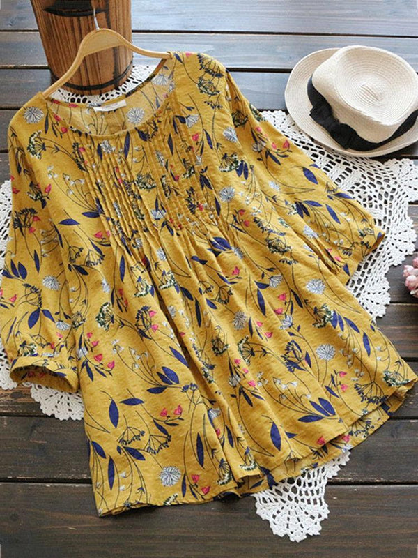 Fantastic Yellow Colored Floral Printed Ruby Silk 3/4 Sleeves Top - Z004