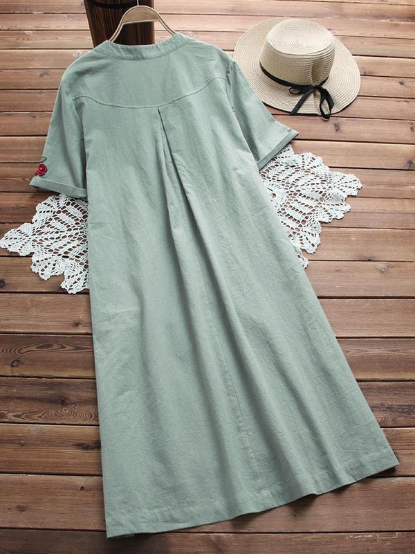 Women Casual Short Sleeve Shirt Dress Vintage Cotton Linen Western Wear - Z006