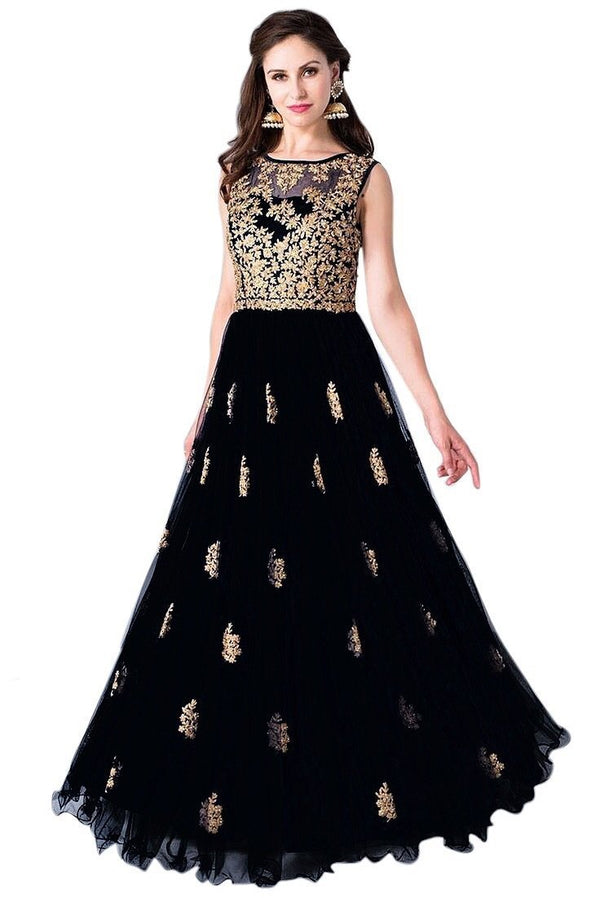 Adoring Black Colored Embroidered Designer Gown - GW003