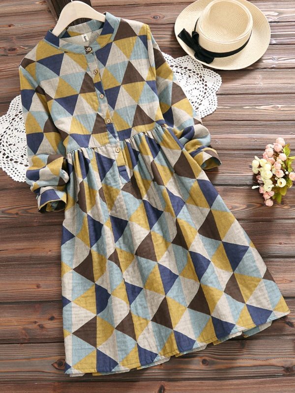 Geometric Print Stand Collar Long Sleeve Cotton Women Western Dress - Z008