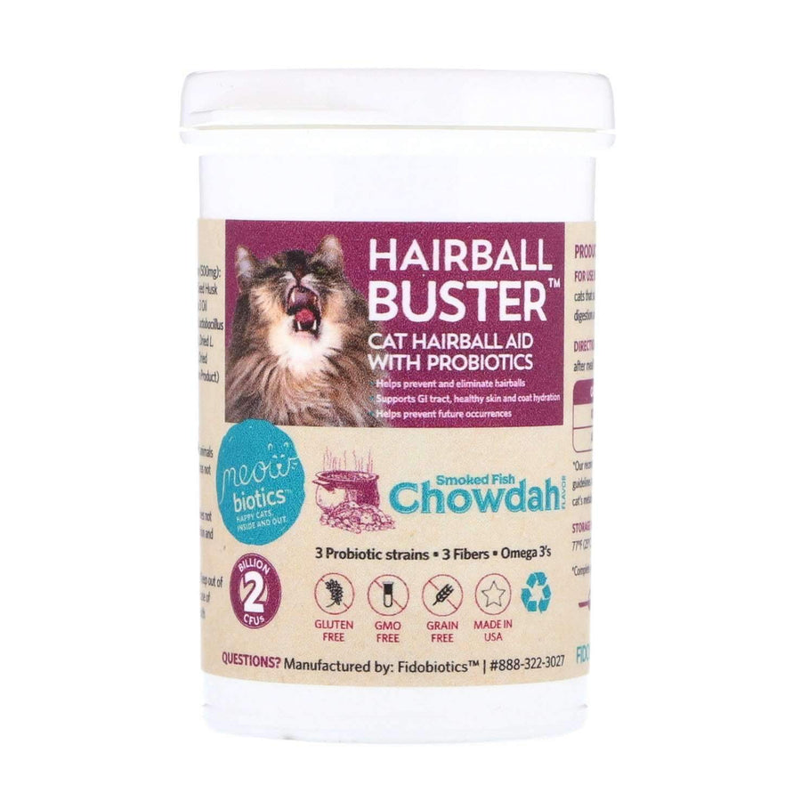 Hairball Buster - Hairball Aid With Probiotic Powder For Cats - Fidobiotics - probiotics for dogs and cats