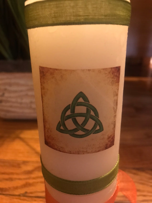 Decoupage Handcrafted Celtic Trinity Symbol Candle