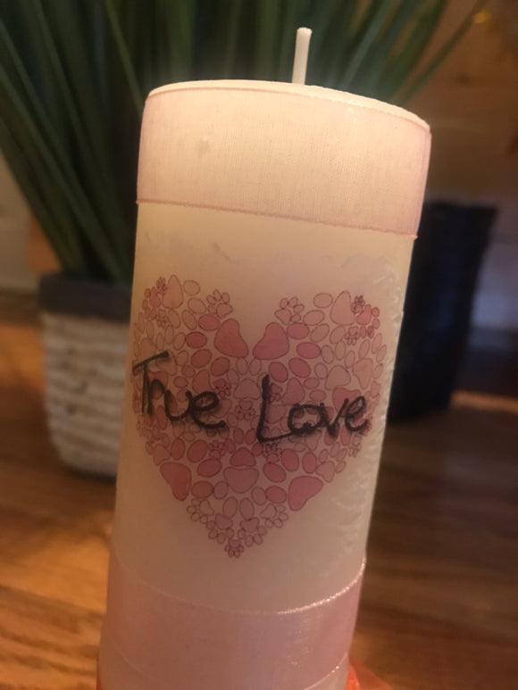 Decoupage Handcrafted Puppy True Love Candle