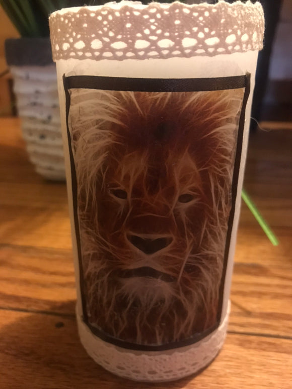 Decoupage Handcrafted Lion Candle
