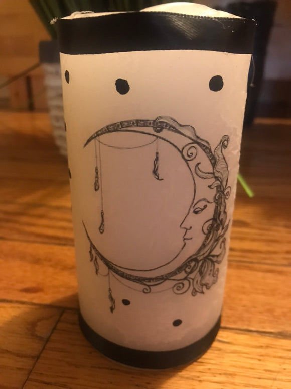 Decoupage Handcrafted Moon Candle