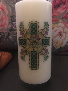Decoupage Handcrafted Celtic Cross Candle