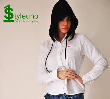 womens black detachable hood