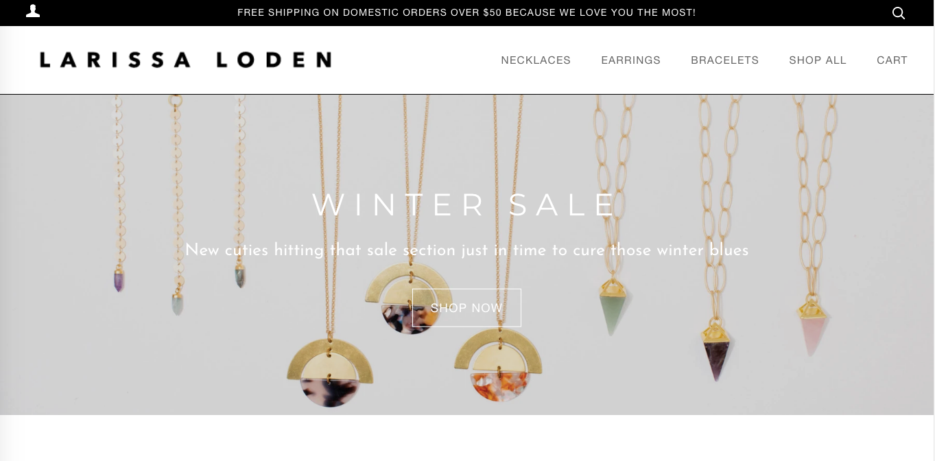 Larissa Loden Screenshot - Example of Affordable Shopify Website Customization