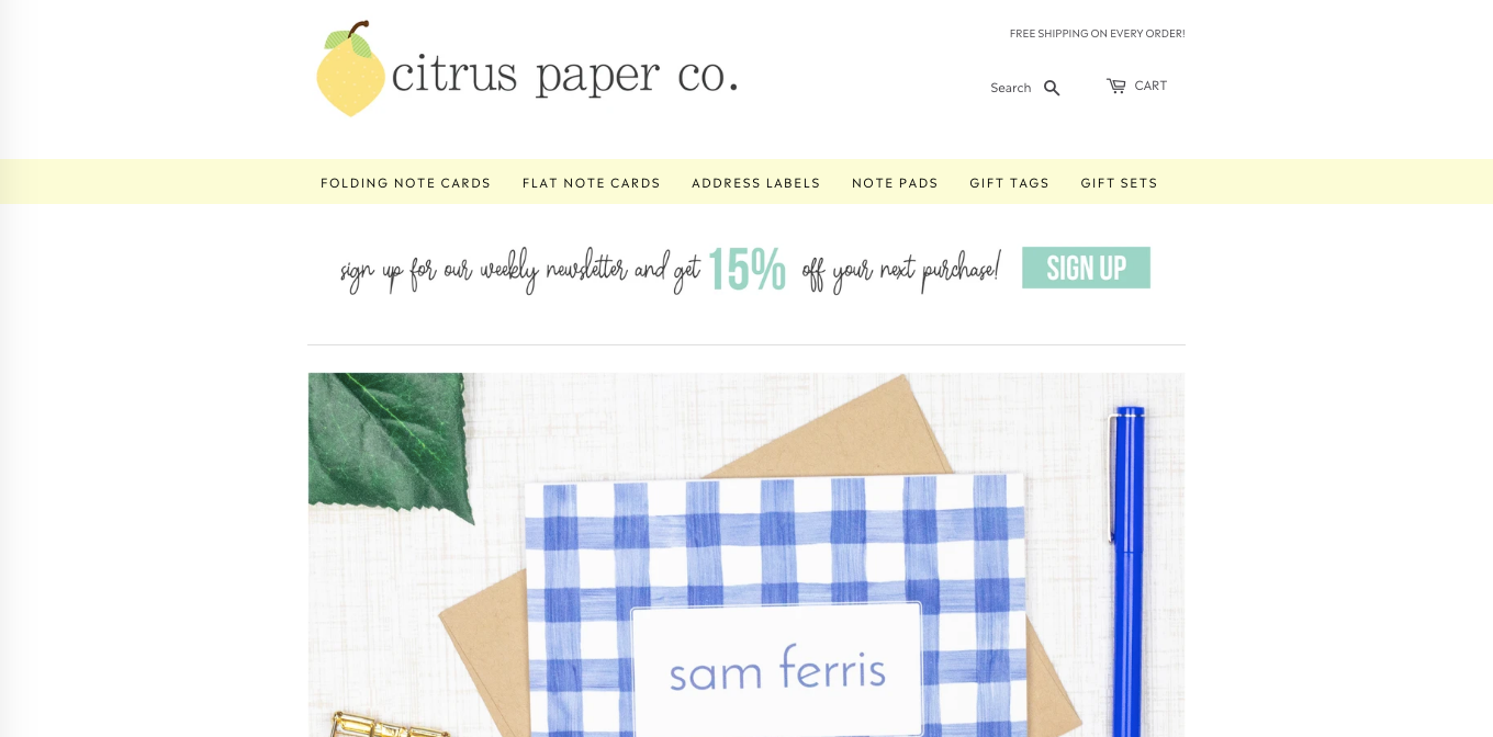 Citrus Paper Co. - Example of Affordable Etsy to Shopify Website Migration