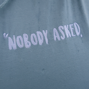 'Nobody Asked' Embroidered Cloud Hoodie - Sky Blue
