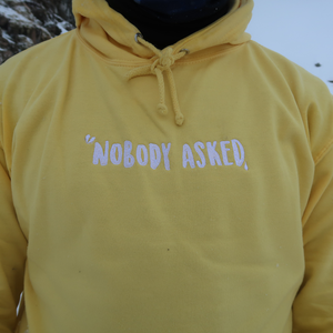'Nobody Asked' Embroidered Cloud Hoodie - Lemon Yellow