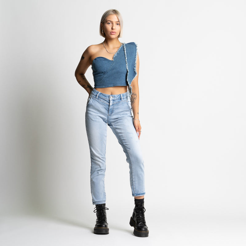Celia Denim Crop Women Top