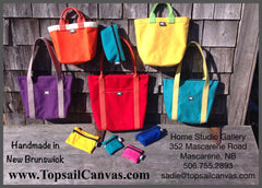 Canvas Bags Handmade in New Brunswick Canada.  Totes, Handbags, Lunch bags, Tool Rolls, etc.