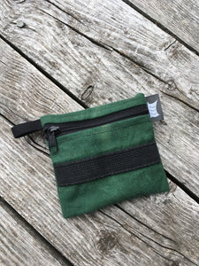 Reclaimed - Green/Black zippered pouch