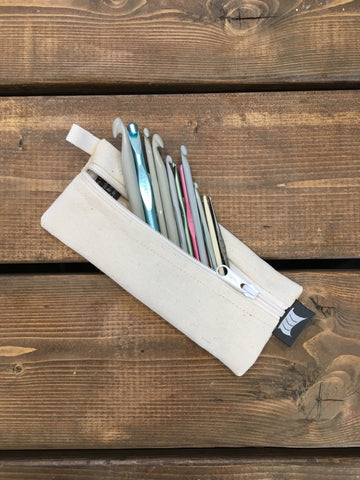 Knitting Pouch, Sock or Crochet Hooks - White *Available-Now*