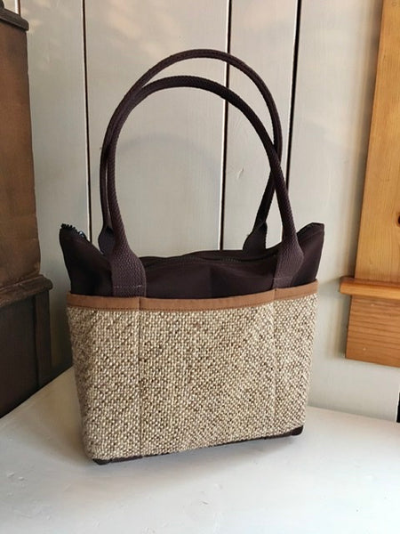 Bent Ziptop Short Tote - Khaki Brown