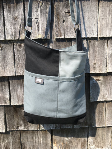OOAK #13 Black Grey Patch Tote