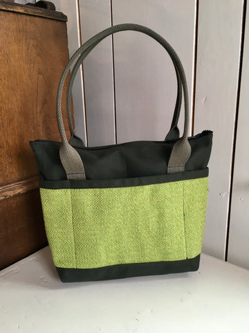 27 Bent Ziptop Short Tote - Lime / Olive