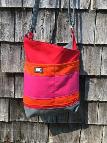OOAK #15 Red Orange Fuchsia Patch Tote