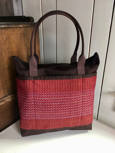 24 Bent Ziptop Tall Tote - Red / Brown