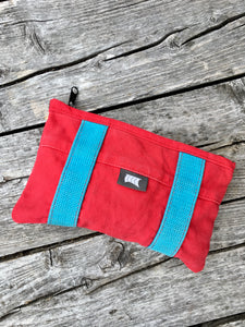 Reclaimed - Red/Turquoise zippered pouch