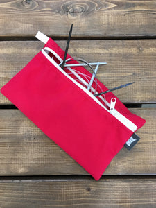 Knitting Pouch, Circular needles - Red *Available-Now*