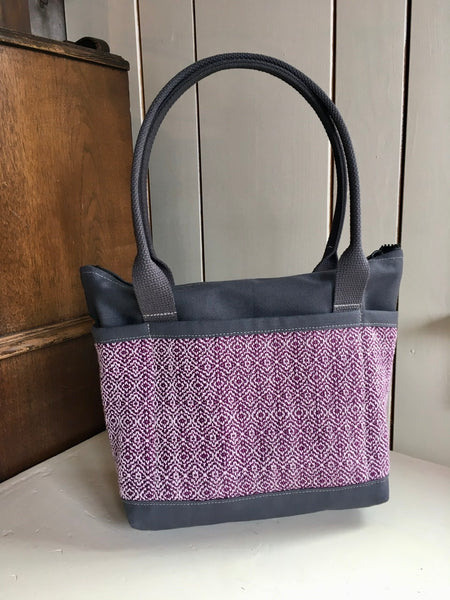 26 Bent Ziptop Short Tote - Intricate Purple / Grey