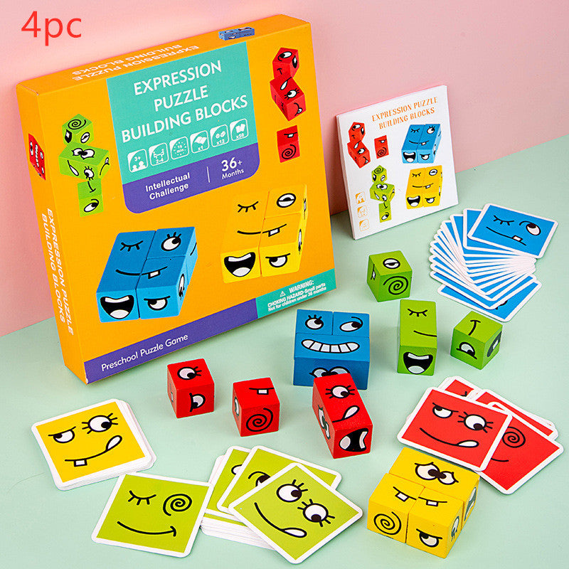 Wooden Expression Magic Face Puzzles Building Block